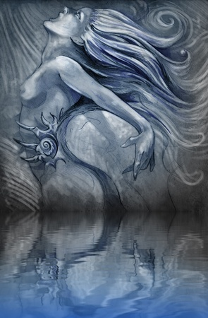 Nude mermaid illustration in blue colors with shine effects over water reflection illustration