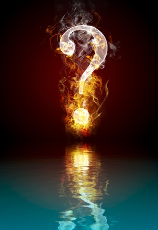 Question symbol burning, fire with reflection in water Imagens
