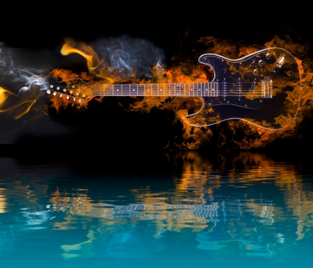 물에 반사와 일렉트릭 기타를 굽기