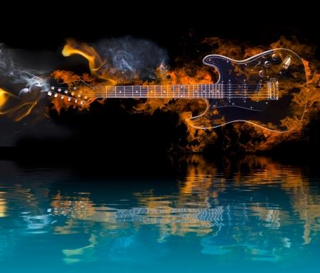 Brandende Elektrische Gitaar met reflectie in het water Stockfoto