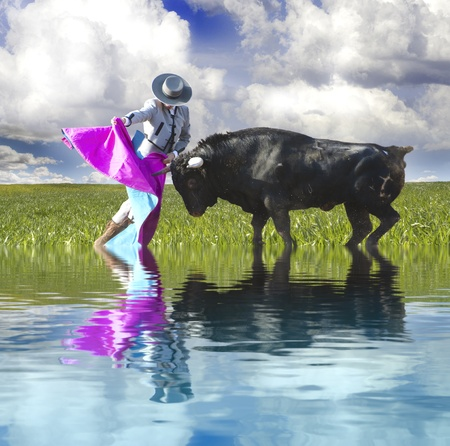 Spanish Bullfight with water reflection. Matador in Ring with Bull photo