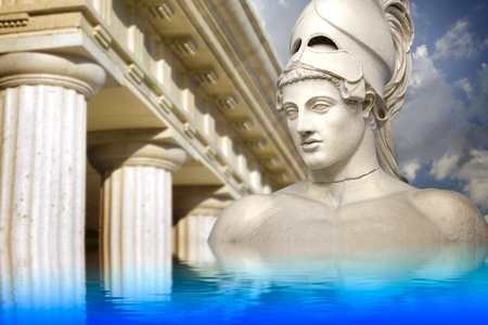Greek sculpture of the General Pericles, Greek art reflected in a calm sea. photo