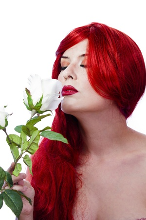 Beautiful Girl with Spring Flowers. Fresh skin concept photo
