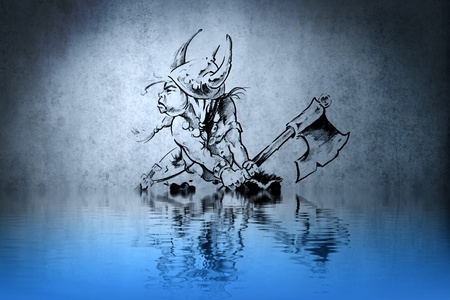 Tattoo warrior in the war on blue wall with water reflections photo