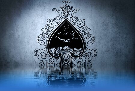 Celtic tattoo drawing on blue wall with water reflections photo