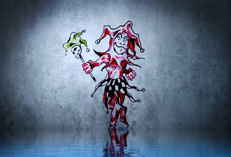 Fantasy funny clown tattoo with water reflection. Illustration design over rusty blue wall Stock Illustration - 13344420