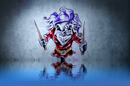 Fantasy funny clown tattoo with water reflection. Illustration design over rusty blue wall illustration