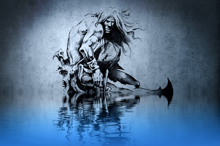 Tattoo warrior in the war on blue wall with water reflections Stock Photo - 13344532
