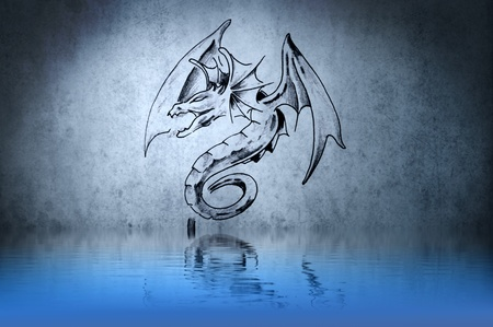 Dragon fantasy, tattoo drawing or decoration with water reflections photo