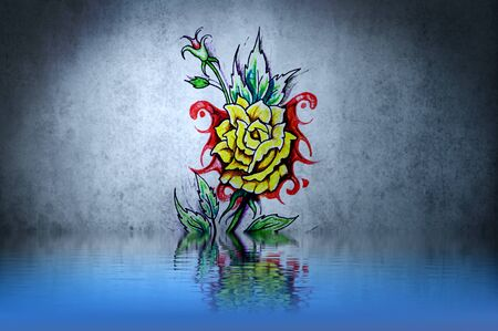 Flower tattoo design on blue wall reflections in the water photo