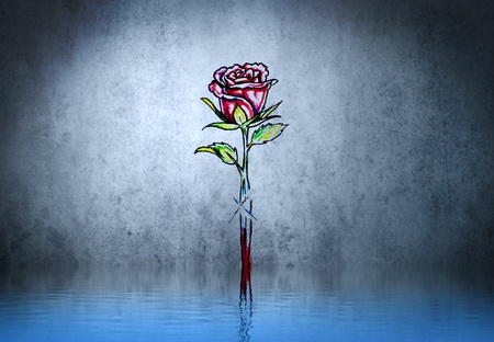 Rose sword tribal forms tattoo over water reflection. Illustration design rusty blue wall