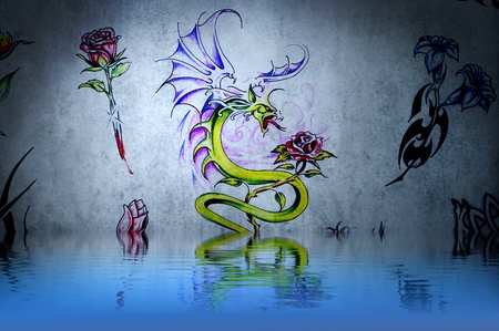 Dragon fantasy, tattoo drawing or decoration with water reflections Stock Photo - 13344553