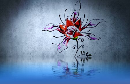 Rose tribal forms tattoo over water reflection. Illustration design rusty blue wall illustration