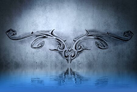 Tattoo on blue wall with water reflections photo