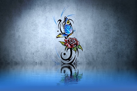 Rose and butterfly tribal forms tattoo over water reflection. Illustration design rusty blue wall illustration