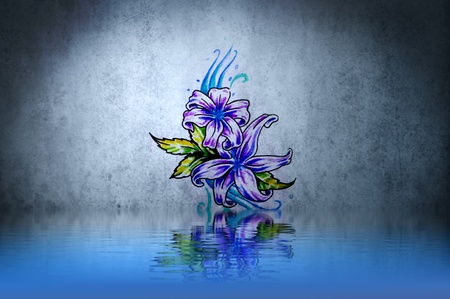 Purple plant tattoo over water reflection. Illustration design rusty blue wall illustration