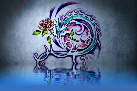 tribal dragon: Tattoo on blue wall with water reflections Stock Photo