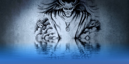 drawing of an evil wizard dirty blue background, with reflections on the water photo