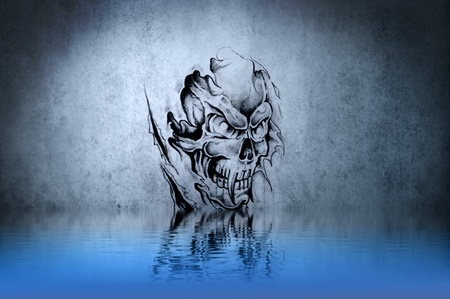 Evil wizard, drawing on blue wall reflections in the water photo