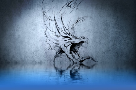 dragon tattoo: Medieval dragon tattoo on blue wall with water reflections