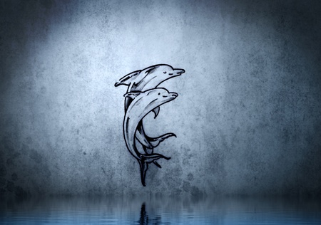 Dolphin tattoo on blue wall with water reflections photo