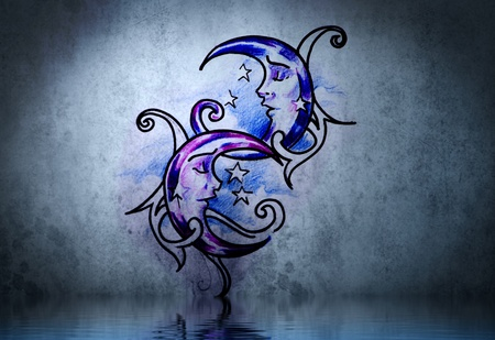 Moon tattoo on blue wall with water reflections photo