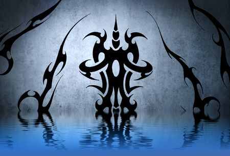 Tattoo tribal with water reflection. Illustration design over blue wall illustration
