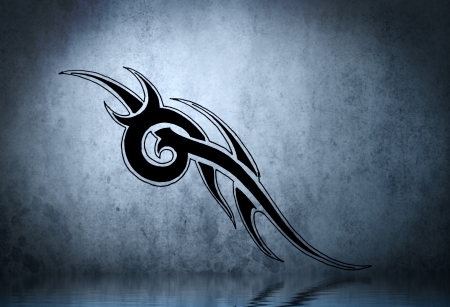 Beautiful draw tribal with water reflection. Tattoo design over blue wall photo
