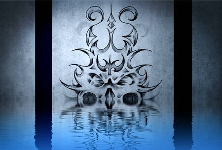 Stone gargoyle tattoo on blue wall reflections in the water photo