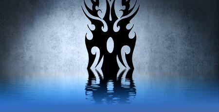 Black tribal sign with water reflection. Tattoo design over blue wall photo