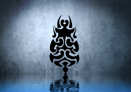 Black tribal mask with water reflection. Tattoo design over blue wall photo