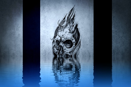 fantasy drawing of a devil dirty blue background, with reflections on the water photo