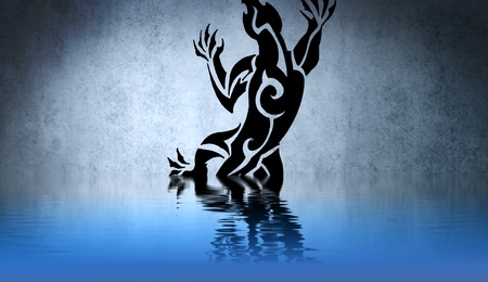 Black Tribal illustration with water reflection. Tattoo design over blue wall illustration
