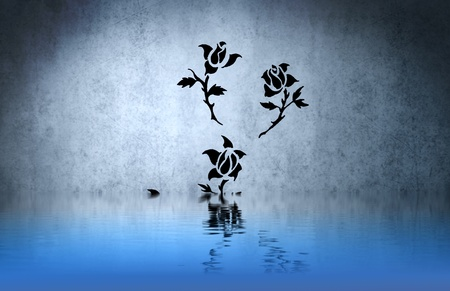 Rose tribal ilustraci�n con la reflexi�n del agua. Dise�o de tatuaje en la pared azul photo