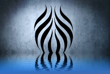 Tribal illustration with water reflection. Tattoo design over blue wall illustration