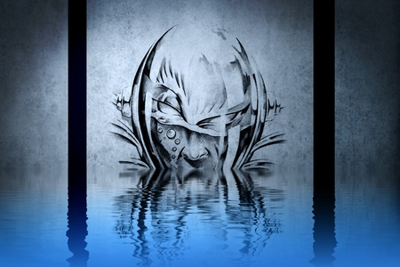 Monstrous character on blue wall reflections in the water photo