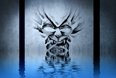 fantasy drawing of a devil dirty blue background, with reflections on the water Stock Photo - 13344503