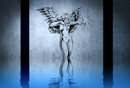 water nymph: Tattoo of a beautiful nymph dirty blue background, with reflections on the water