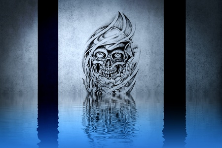 Lovely  tattoo drawing on blue wall reflections in the water photo