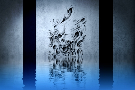 Skull tattoo on blue wall reflections in the water photo