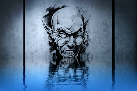 Zombie tattoo on blue wall with water reflections photo
