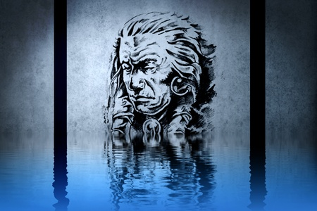 Indian chiefs head on blue wall reflections in the water photo