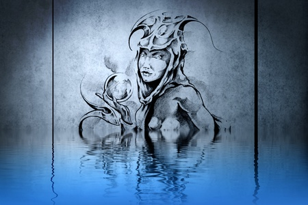 Tattoo wood nymph on blue wall with water reflections photo