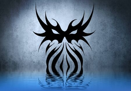 Forms tribal tattoo on blue wall reflections in the water Stock Photo - 13344432