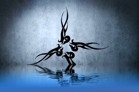 Beautiful tribal black on blue background, with reflections on the water photo