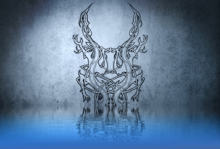 Forms tribal tattoo on blue wall reflections in the water photo