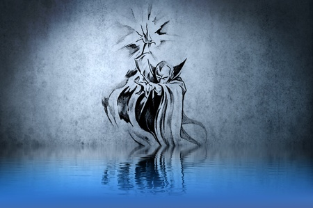 Witch or sorcerer tattoo on blue wall with water reflections photo