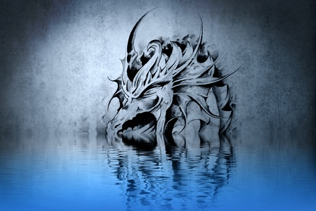 Medieval dragon tattoo on blue wall with water reflections photo