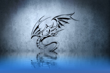 dragon tattoo: funny dragon tattoo on blue wall reflections in the water