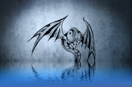 funny dragon tattoo on blue wall reflections in the water photo